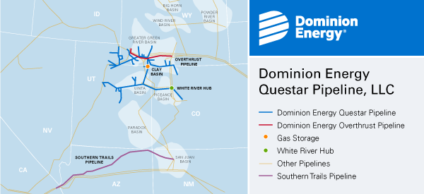 Dominion Energy Questar Pipeline, LLC  Map